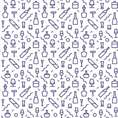 Vector Illustration of Bar Bottle Seamless Pattern Outline for Design, Website, Background, Banner. Alcohol Element for Barman Infographc. Menu or restaurant Element Template. Hipster fashion. Memphis