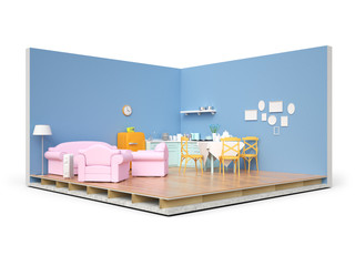 Home appliances and furniture isolated. 3d render