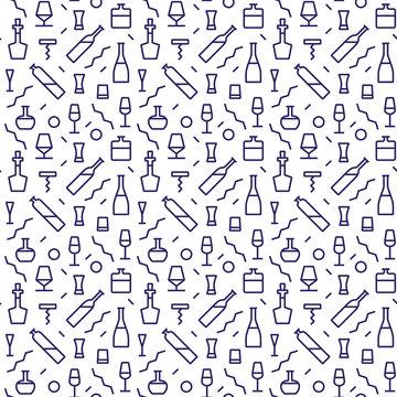 Vector Illustration of Bar Bottle Seamless Pattern Outline for Design, Website, Background, Banner. Alcohol Element for Barman Infographc. Menu or restaurant Element Template. Hipster fashion. Memphis