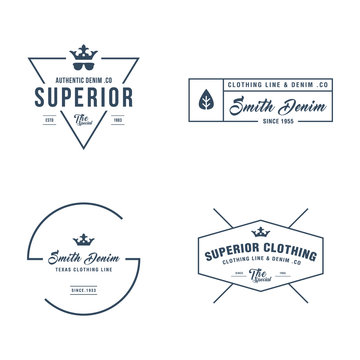 Vintage denim jeans frame label, Classical Clothing line in white background
