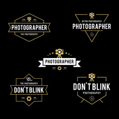 Set of Vintage photography badges and labels