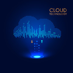 download and upload data in cloud storage. Technology background, VECTOR