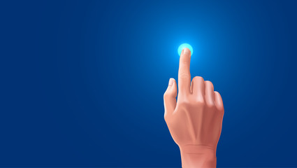 The beautiful hand presses the index finger on the touchscreen. Button on the touchscreen is highlighted when tapped with your finger, Blank VECTOR
