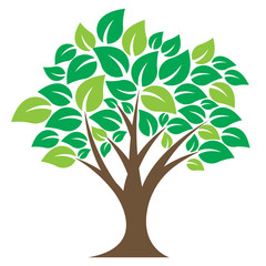 Iconic illustrations for trees, related to gardening, forest, reforestation, environmental care.