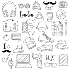 Set of graphic elements icons. Hipster accessories. Doodle cartoon comic background, wallpaper, template, backdrop, Vector illustration. Freehand sketch for adult anti stress coloring book page