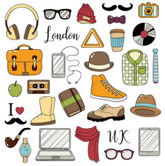 Set of graphic elements. Hipster accessories. Doodle cartoon comic background, wallpaper, template, backdrop. Set of icons for web design, advertising, packaging, postcard. Vector illustration