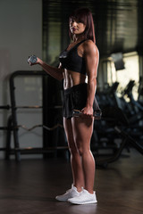 Woman Exercising Biceps With Dumbbells