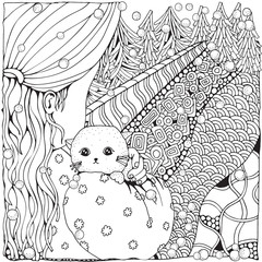 Cute cartoon girl with cat. Winter. Snowing. Adult Coloring book page. Firs. Christmas trees. Black and white. Black and white vector.
