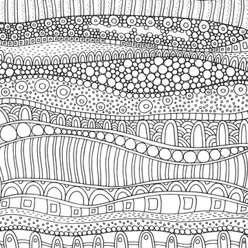 Artistically ethnic pattern. Hand-drawn, ethnic, floral, retro, doodle, vector, zentangle, tribal design element. Pattern for adult coloring book page.