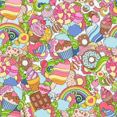 Doodle hand drawn vector illustration, seamless abstract background, texture, pattern, wallpaper, backdrop. Collection of color, bright sweets, desserts, pastries, ice cream, candy elements set