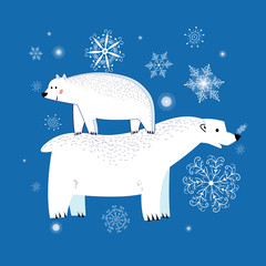 Vector winter polar bears