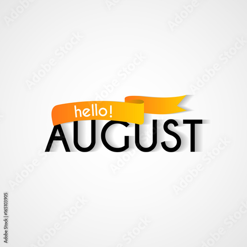 Creative typography greetings of new month hello august lettering creative typography greetings of new month hello august lettering vector illustration with ribbon m4hsunfo