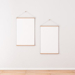 Two Vertical Roll up Posters Mockup hanging on the wall in empty room, 3d rendering