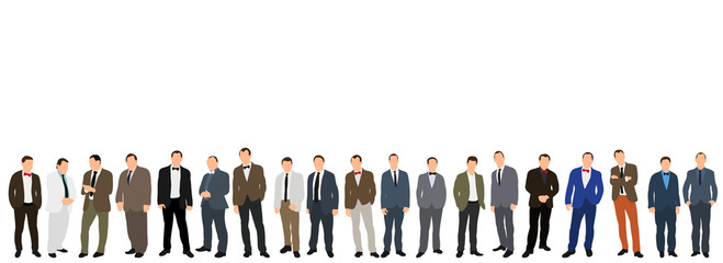 Vector, isolated, flat style, men stand, isometric people