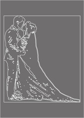 wedding invitation, greeting card for wedding, contours of bride and groom, gray