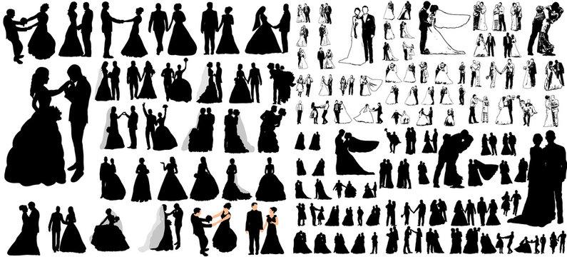 Vector, big set of wedding silhouettes