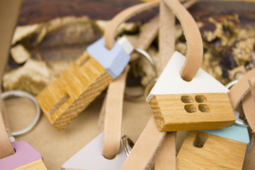 key chains wooden houses