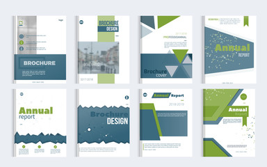 Business Brochure cover design set with blured photo and simple shapes. Minimalistic design of annual repport.