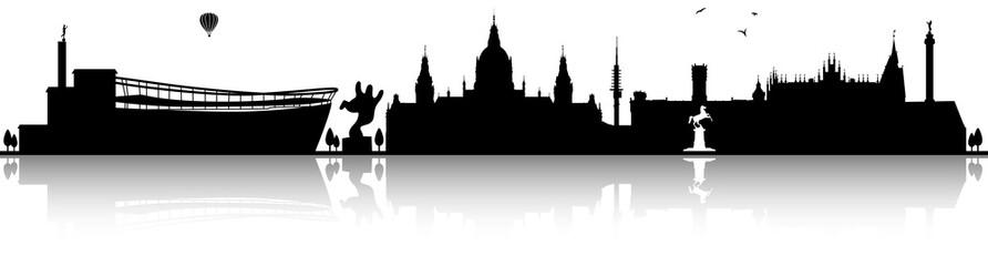 Hannover Skyline Silhouette schwarz