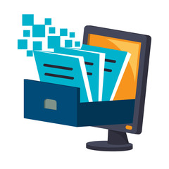 Icon illustrations for digital document storage