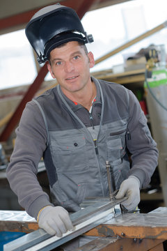 welder pausing for a picture