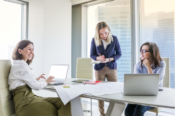 Group of business women working at the table in modern office Wall mural