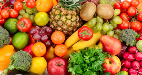 Collection of bright fresh fruits and vegetables