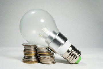Led bulb world currencies, energy and economy