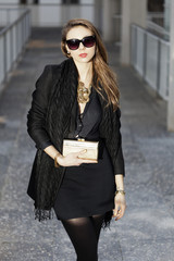 Black & Gold Winter Fashion Chic Woman