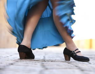 Close-up of Flamenco dancer.
