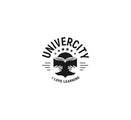 Black and white education emblem on white background, school vector logo, monochrome vintage sign. University, college retro design stamp.