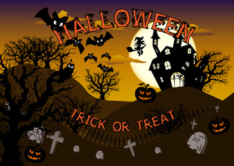 Halloween poster in orange and brown tones in size a4
