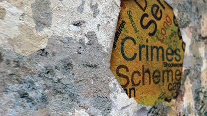 Wall Mural - Crimes text on hole