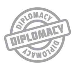 Diplomacy rubber stamp. Grunge design with dust scratches. Effects can be easily removed for a clean, crisp look. Color is easily changed.