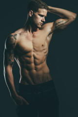 male fitness man posing his muscles