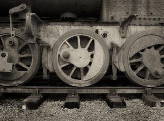 "Wheels of a vintage steam engine: Hunslet Engine Company 1540 'Picton"". A large 2-6-2 saddle tank engine built for export in 1927 to work on the Usine Sainte Madeleine sugar plantation, Trinidad. Havi"