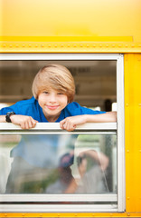 School Bus: Schoolboy Hangs out Bus Window