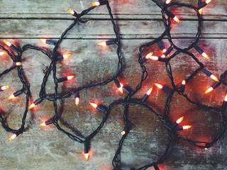 A set of orange christmas or halloween lights