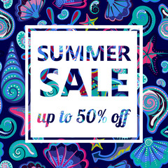 Summer sale banners on bright seamless background with hand drawing marine life. Vector