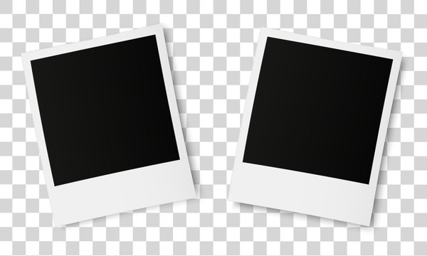 Realistic old photo frames isolated on transparent background.