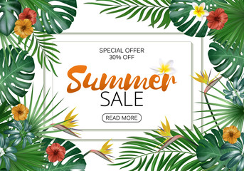 Sale banner, poster with exotic leaves, jungle leaf. Vector floral tropical summer background. Horizontal format.