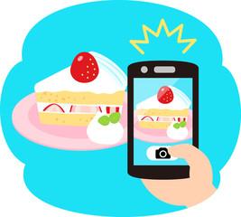 スマートフォンでの食べ物の写真撮影