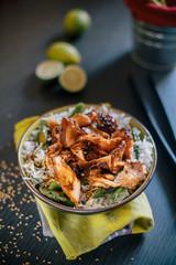 Basmati rice with asparagus and salmon teriyaki