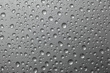 abstract water drops on a silver background.water drop on silver metal background