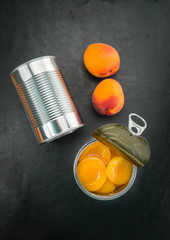 Pickled Apricots on a slate slab (selective focus)