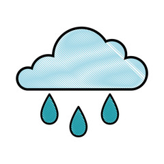 cloud and rain icon over white background vector illustration