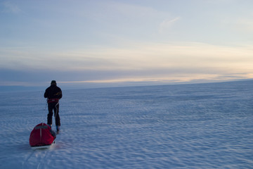 Scene of expedition life on a polar journey in Greenland