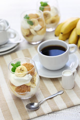 homemade banana pudding and a cup of coffee, Southern dessert