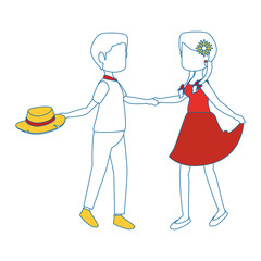 couple dancing icon over white background colorful design vector illustration