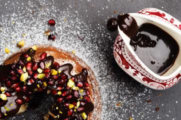 Vanilla bundt cake with chocoate ganache